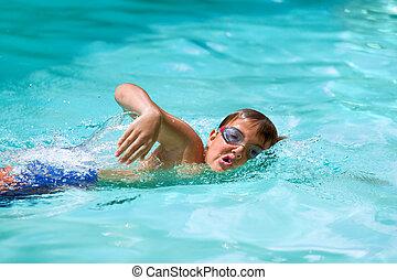 niño, Practicar, Estilo libre, piscina