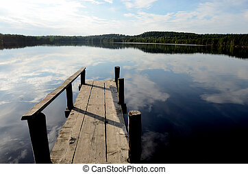 lake and the old wooden jetty - summer landscape, lake and...