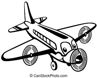 cartoon airplane black white - cartoon airplane toy, black...