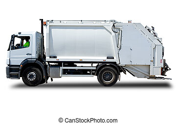 Garbage Truck - White Garbage Truck Isolated with a Driver