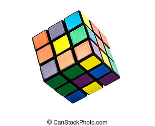 Six color cube puzzle isolated on white