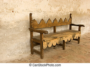 Bench at Mission San Juan Capistrano - Old bench at Mission...