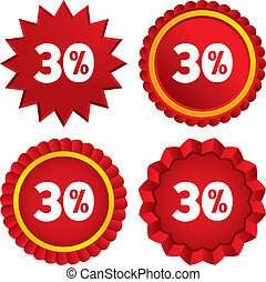 30 percent discount sign icon Sale symbol Special offer...