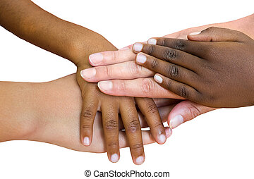 Human races joined together - Macro close up of multiracial...