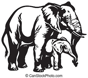 elephant mother with baby - african elephant mother with...