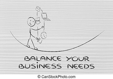 concept of dealing with business needs: juggling with office...