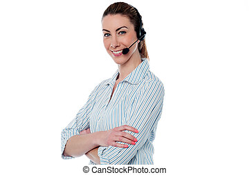 Female call centre agent with arms crossed