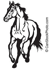 running horse black white - running horse front view black...