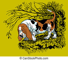 basset hound illustration - hunting dog in forest, bast...