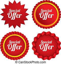 Special offer sign icon. Sale symbol. Red stars stickers....