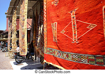 Moroccan carpets - Market of carpets in old Medina of...
