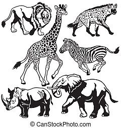 set with african animals,beasts of savanna,black and white...