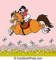 little girl riding horse - cartoon little girl riding horse...