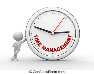 """Time to management"""" - 3d people - man, person with a clock..."""