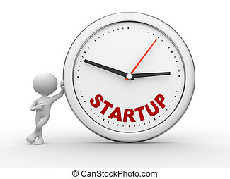 Start up - 3d people - men, person with clock and word START...