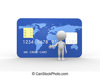 Credit card - 3d people - men, person with credit card
