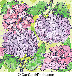 Floral Seamless Pattern with hand drawn flowers - gardenia...