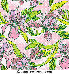 Floral Seamless Pattern with hand drawn flowers - orchids on pink background.