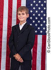 niño, bandera, norteamericano,  Portait, caucásico