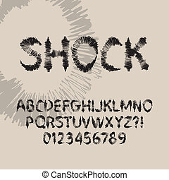 Abstract Shock Font and Numbers, Eps 10 Vector