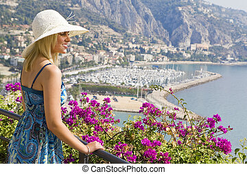 Sightseeing In The Mediterranean - A beautiful young woman...