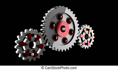 Gear wheels rotate alpha matted