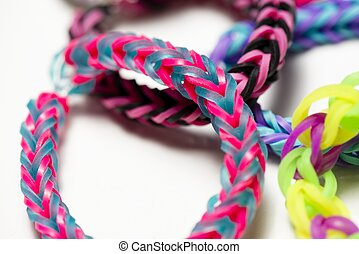 Rubber band bracelets - a macro shot of rubber band...