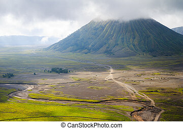 Path to Mount Bromo volcano, East Java, Surabuya, Indonesia