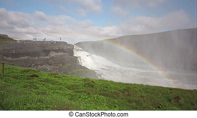 Gullfoss waterfall and rainbow in Iceland