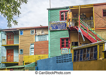 Caminito street in Buenos Aires, Argentina. - Colorful...