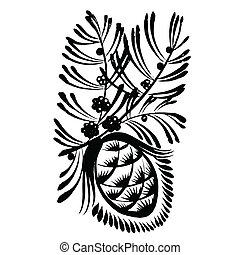decorative silhouette pine cone with pine needles - vector,...