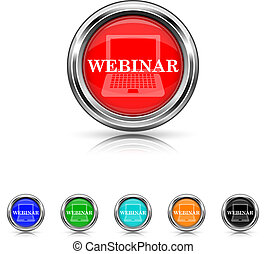Webinar icon - six colours set - Shiny glossy icons - six...