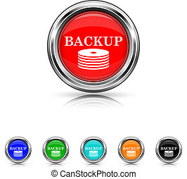 Back-up icon - six colours set - Shiny glossy icons - six...