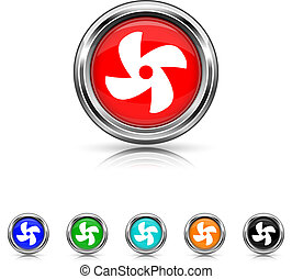 Fan icon - six colours set - Shiny glossy icons - six...