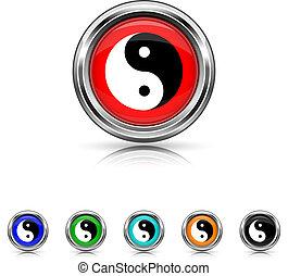 Ying yang icon - six colours set