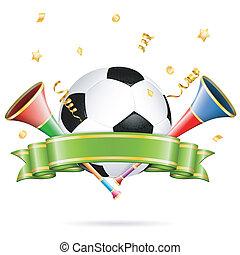 Soccer Poster with Soccer Ball, vuvuzela, ribbon and golden...