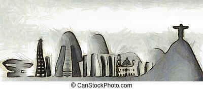 Rio de Janeiro skyline - Expressionistic drawing of the Rio...