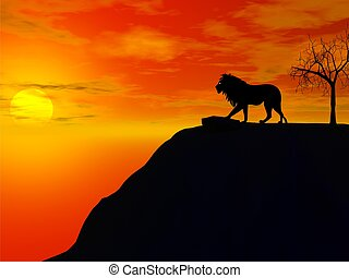 lion silhouette with sunset illustration
