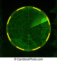 Blank Radar - Radar with an empty screen and green sweeping...