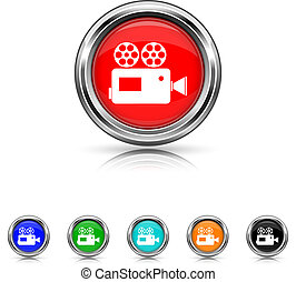 Video camera icon - six colours set - Shiny glossy icons -...