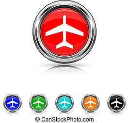 Plane icon - six colours set - Shiny glossy icons - six...