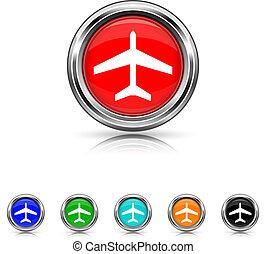 Plane icon - six colours set - Shiny glossy icons - six...