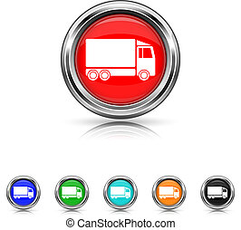 Truck icon - six colours set - Shiny glossy icons - six...