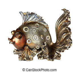 fish statuette isolated on white background (souvenir)