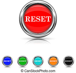 Reset icon - six colours set - Shiny glossy icons - six...