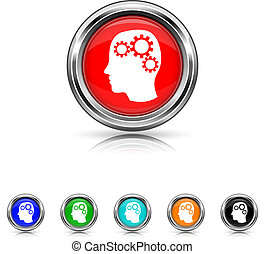 Brain icon - six colours set - Shiny glossy icons - six...