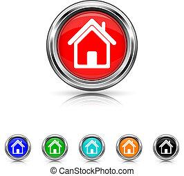 Home icon - six colours set - Shiny glossy icons - six...