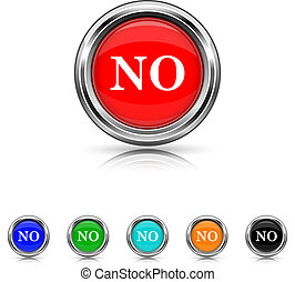 No icon - six colours set - Shiny glossy icons - six colours...