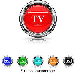 TV icon - six colours set - Shiny glossy icons - six colours...