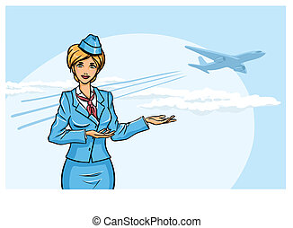 Stewardess - Background with young pretty stewardess